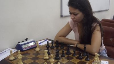 A campeã brasileira em ação contra Quintiliano